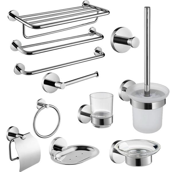 Sus304 Stainless Steel Bathroom Hardware Set Chrome Mirror Polished Toilet Paper Holder Robe Hook Towel Bar Bathroom Accessories SH190709