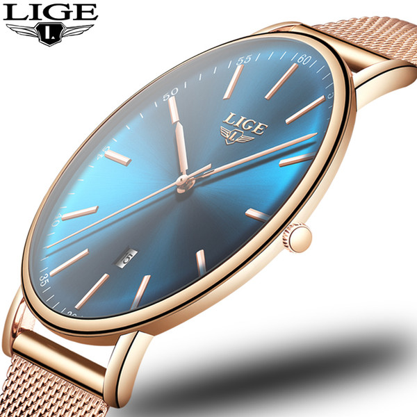 2019 Women's Watch Lige Top Brand Luxury Women Fashion Casual All Steel Ultra-thin Mesh Belt Quartz Clock Relogio Feminino+box Y19052201