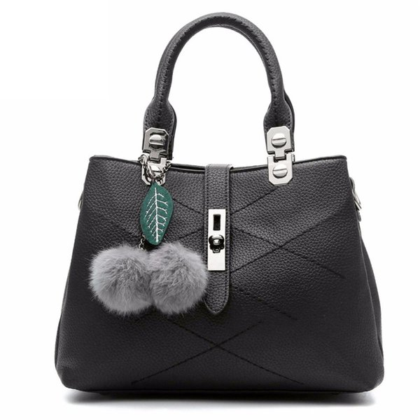 2019 Women Bag Pu Leather Tote Brand Bag Ladies Hair Ball Handbag Lady Evening Bags Solid Female Messenger Bags Travel Dcr04