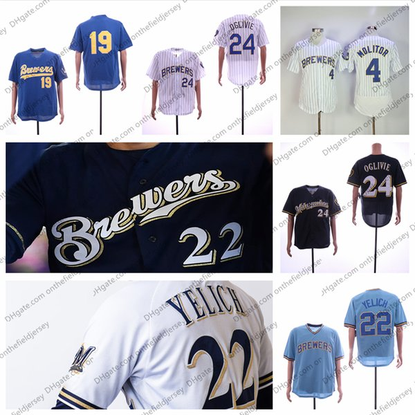 ba4f7dca209 Milwaukee Baseball Jersey Brewers Any Name Number 19 Robin Yount 4 Paul  Molitor 15 Cecil Cooper