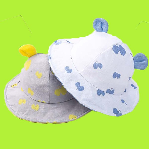 Korean version of the new baby cotton bear ear cap spring and summer princess hat child fisherman hat baby sun hat thin section