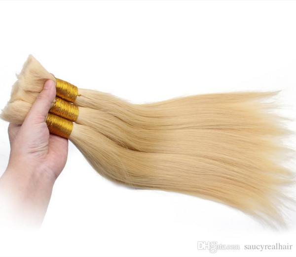 Large Promotion!!! Hot selling cheap price Good Quality #613 Blonde Straight Human Hair Bulk for Braiding hair, Free DHL