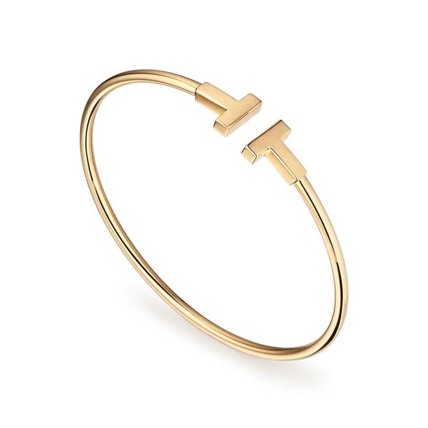 Joyas de acero de titanio Letra T Pulseras de alambre Brazaletes para mujeres Pulseras Pulseras ajustables Femme Joyería de regalo de alta calidad