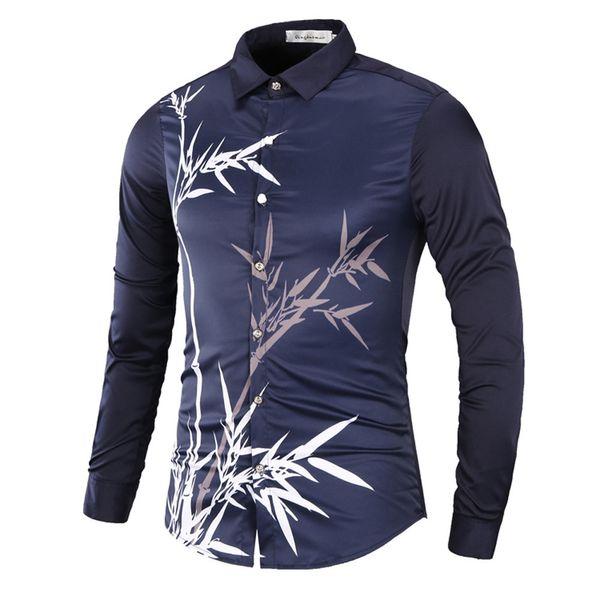 MUQGEW 2019 hommes de la mode chemise slim fit floral Blouse Imprimé Hommes Casual À Manches Longues Slim Col Rabattu Chemises Tops # G4