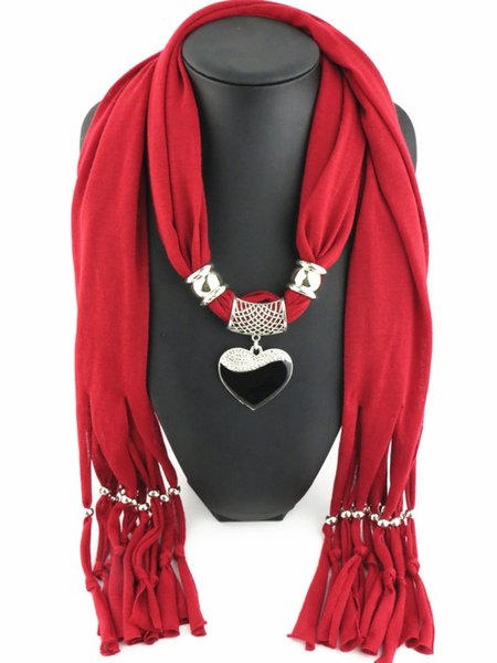 Style Women Scarf Heart Pendant Necklace Pendant Nature Stone Jewelry Scarves 13 colors