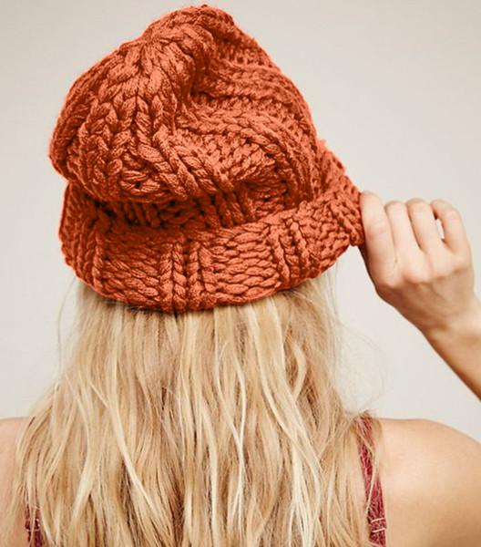 hirigin 2018 nouvelle couleur unie laine tricoter hiver chaud en tricot décontracté bonnet chapeau bonnet de ski au crochet