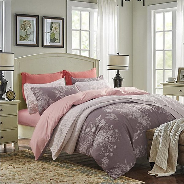 100% Polyester White Elegant Floral Pattern On Gray-Pink Background Duvet Cover Comforter/Quilt/ Case Twin Full Queen
