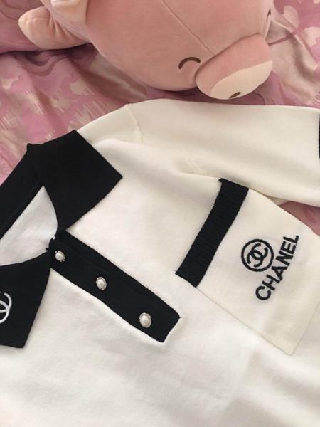 2019 verano nueva moda de las mujeres de manga corta carta de bloque de color bordado dar vuelta abajo elegante cuello de seda de hielo suéter tops camisa