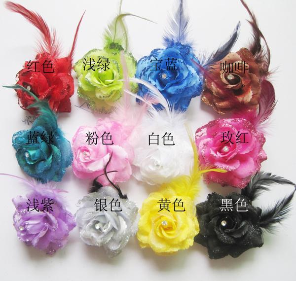 Rose flwer Headwear hairpin hair clip brooches Wedding simulation sequins dance Fashion Feather breastpin Women BD007