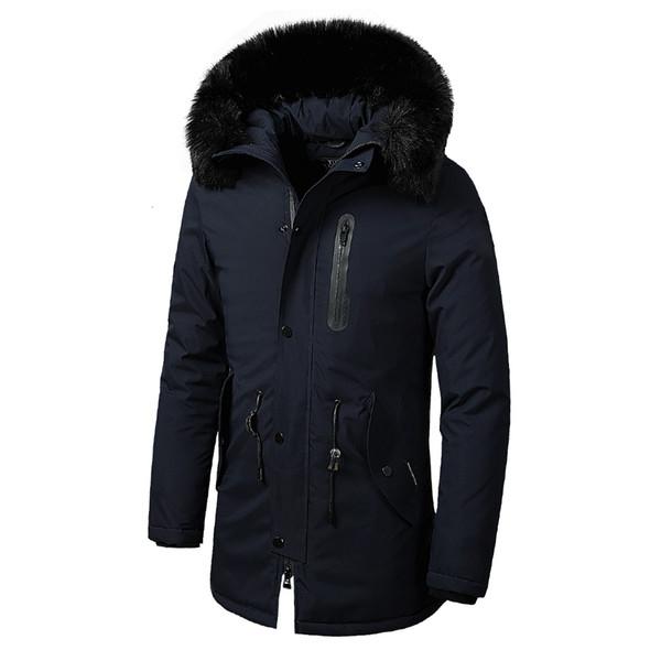 Les hommes d'hiver Nouveau chaud fourrure manches longues épais coton Casual Veste Manteau Parkas Hommes Marque poches Outwear Veste imperméable Parka hommes LY191128