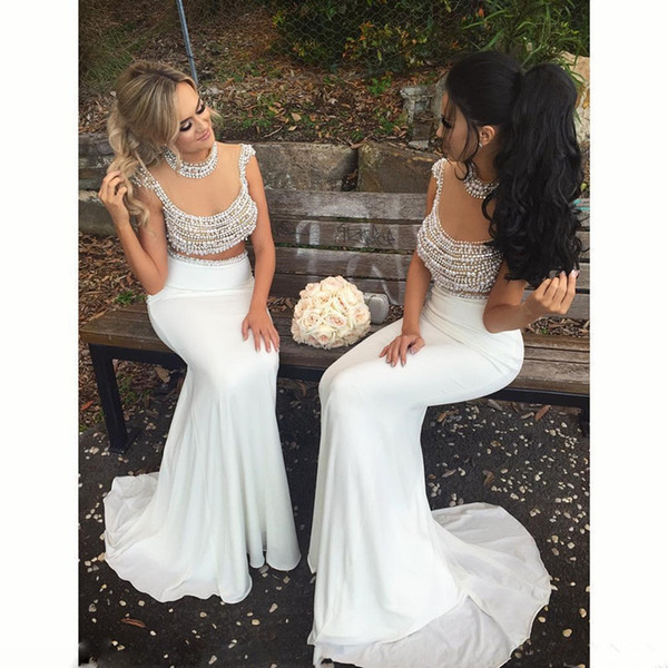 2019 Sexy New Arrival Latest White Chiffon Sheer Neckline Two Piece Prom Dresses Mermaid Modest Pearl Beaded Illusion Back Long Party Gown