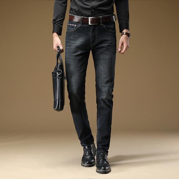 ICPANS Black Denim Jeans Pants Men Straight Stretch Classic Business Regular Fit Mens Jeans For Male Big Size 28-36 38 40 42