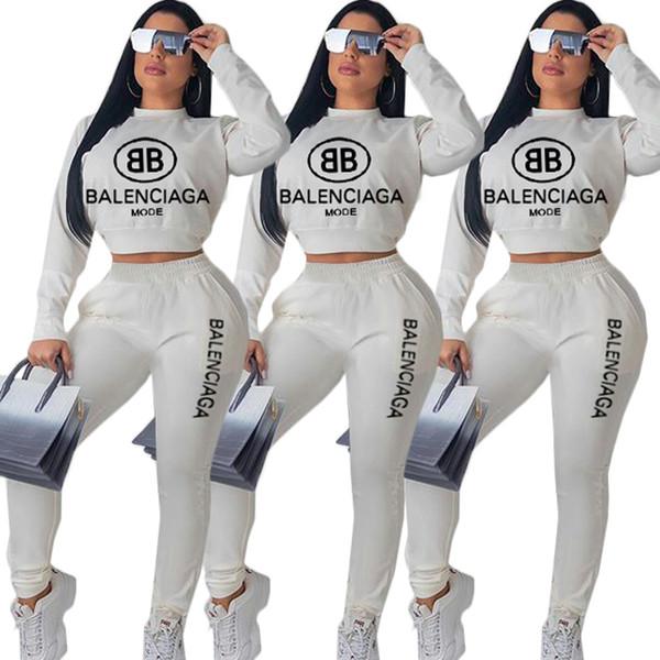 Automne 2 Tenues Piece pour les femmes sexy manches longues Crop Chemises Hauts Pantalons Skinny Sets Survêtements Combinaisons