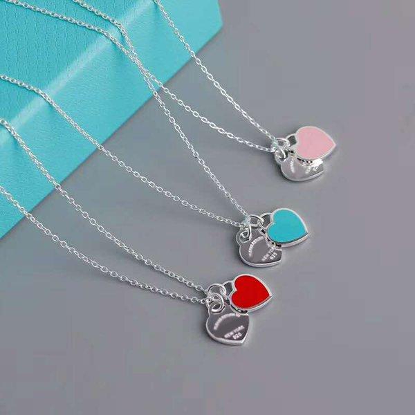 Venda quente Design Colar do amor do coração por Mulheres 100% 925 NecklacesPendants prata do amor do coração Colar Para Mulheres de presente da jóia Logo Original TF