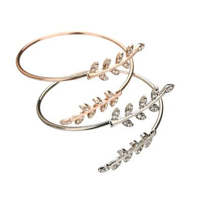 Openings Big Size Classic Rhinestone Tree Leaves Bracelets & Bangles Rose Gold Color Cuff Bracelets For Women BB295