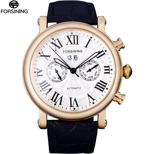Forsining Classic Luxury Roman Number Calendar Display Skeleton Dial Mens Mechanical Watch Top Brand Luxury Automatic Wrist Watch SLZe24