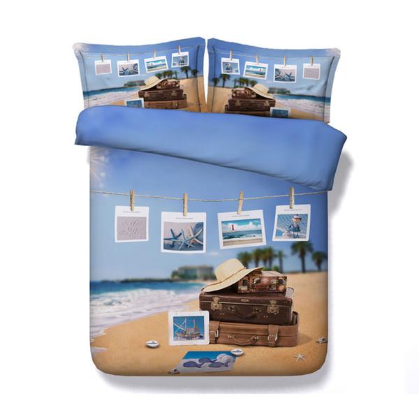 Palm tree bedding 3 Piece Bedding Set With Pillow Shams Sunny Sea Shore Sand Beach Cruise Theme Bedclothes Island Sea Life Wavy Bedlinen Kid