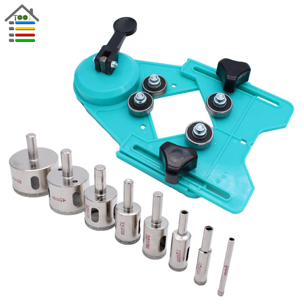 Tools Bit 9PC 4-83mm Tiling Drill Guide Vacuum Base Sucker with 5-50mm Diamond Coated Tile Drill Bit Tile Glass Hole Saw