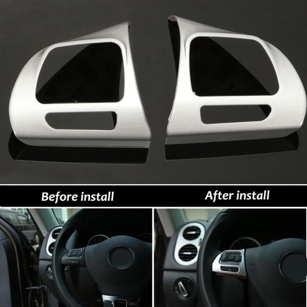 1 Pair Steering Wheel Chrome Insert Trim Cover Badge For VW Golf MK6 Jetta Passat B7 CC