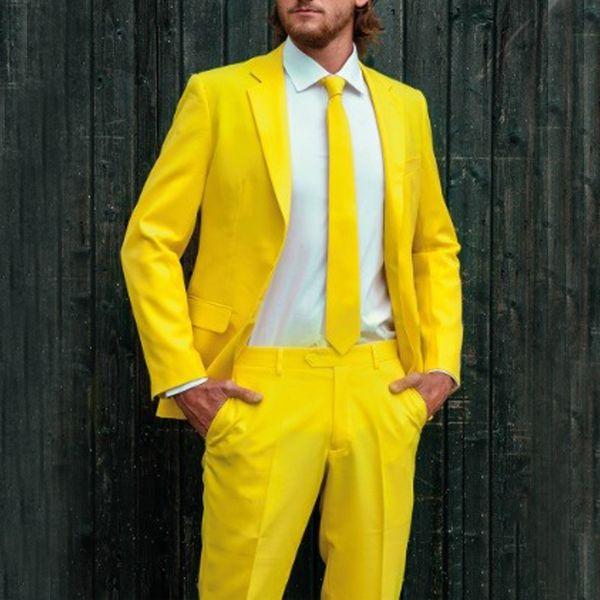 Compre Traje De Vestir Formal Para Hombre Amarillo De 2 Piezas Para Trajes De Novio De Boda Chaqueta Pantalones Traje De Esmoquin De Boda Por