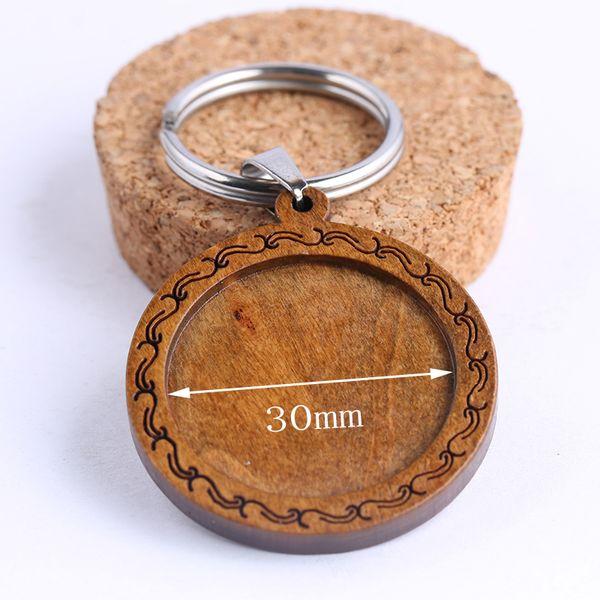 onwear 3 unids 30 mm ronda madera cabochon llavero base ajustes diy en blanco llavero de madera bandejas de bisel diy llavero de acero inoxidable