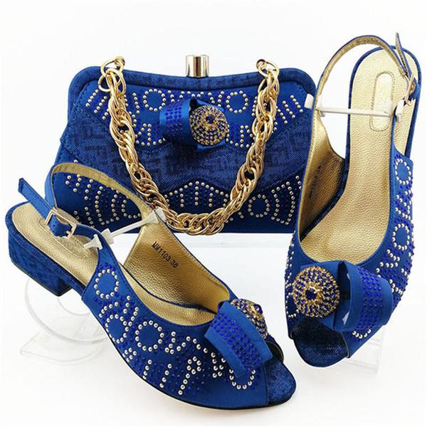 Venta mujeres Media zapatos de los tacones y la bolsa para la tarde del vestido del diseño de África sandalias elegantes zapatos y monedero Conjunto 7Colors YD-M1103