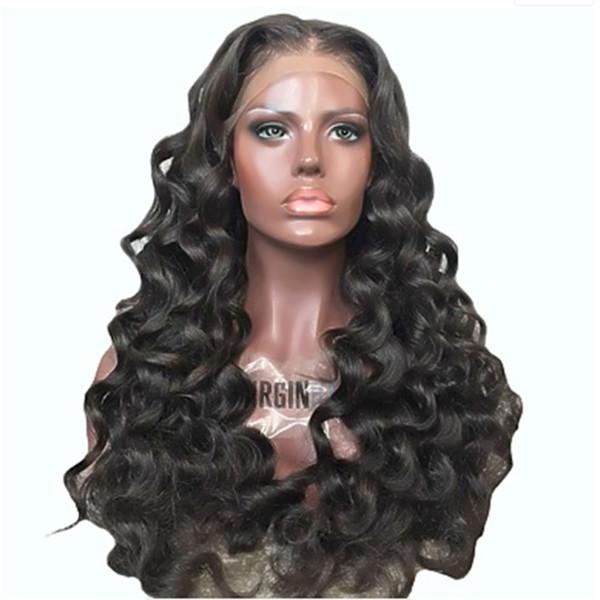 Natürlich aussehende weiche 1b # lange gewellte Perücke Schwarze Perücken mit Spitzenfront für Frauen Schwarze synthetische Perücke Glueless Hitzebeständiges Faserhaar mit 180% Dichte