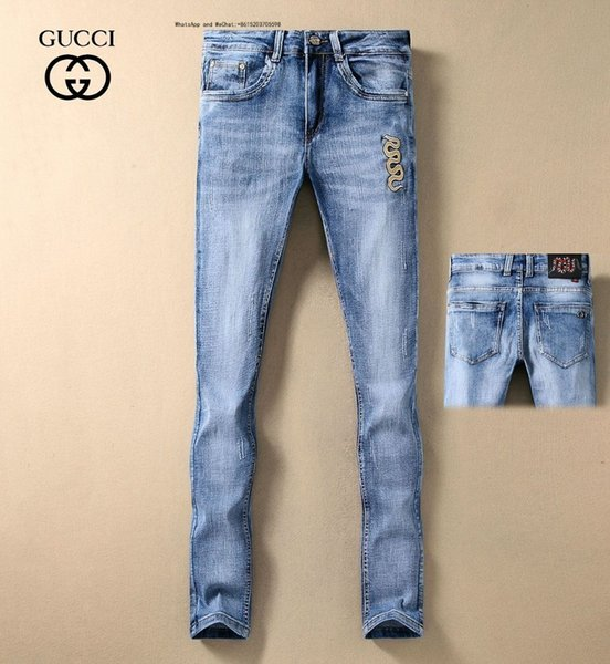 Man Biker Jeans Retro Blue Wear Slim Small Straight Cowboy Trousers Male Top Quality