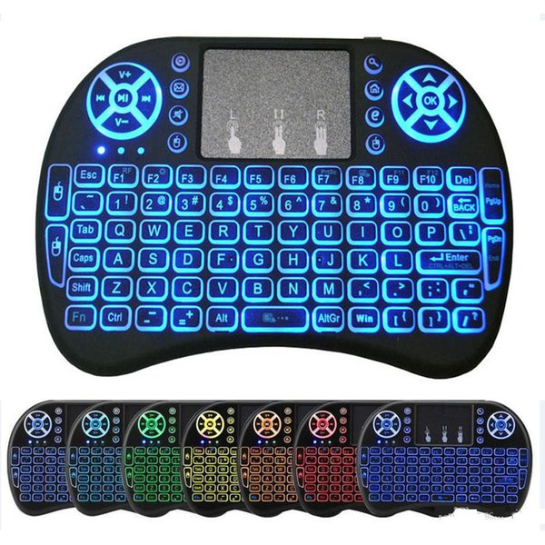 best selling I8 Backlight Mini Wireless Keyboard Backlit Fly Air Mouse Remote Control Touchpad Handheld Rechargeable lithium battery for Android TV BOX