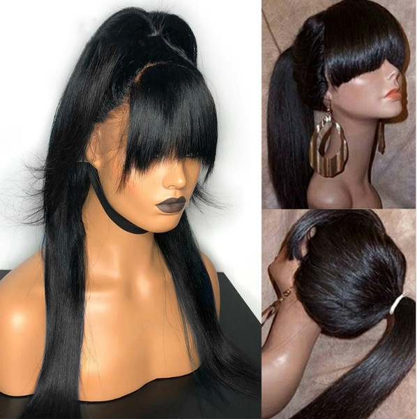 10-24inch Jet Black Soft Lace Front Wigs Glueless Brazilian Full Lace Human Hair Wigs with Baby Hair for Black Woman