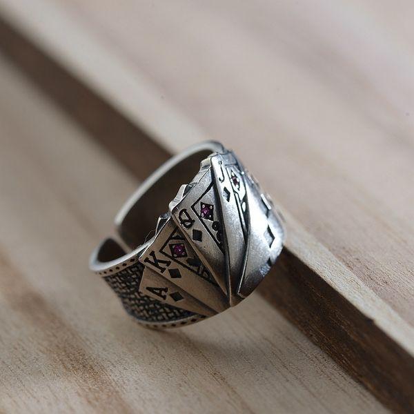 Fnj 925 Silber Poker Ring Neue Mode Punk S925 Sterling Silber Ringe Für Frauen Schmuck Einstellbare Größe C19042001