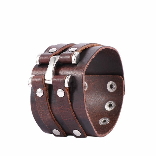 Unisex Wide Genuine Leather Bracelet Cuff Wristband Leather Punk Cool Bracelet Gifts