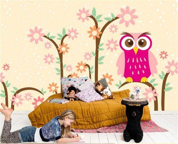 Papel tapiz 3d personalizado foto mural etiqueta de la pared sala de estar habitación de los niños búho árbol papel corte pintura imagen 3d pared habitación murales papel tapiz