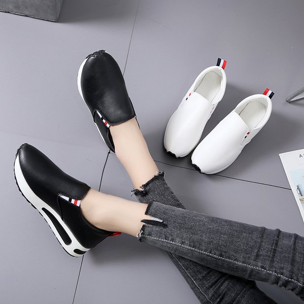 Lucky2019 Shoes Women's Autumn Student Leisure Time Circle Head Low Help Wear-resisting Woman Shoes Tide