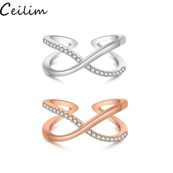 High Quality Silver Zircon Stone Open Ring Fashion Simple Smooth Crossover Ring Big Letter X For Women Lady Party Wedding Jewelry