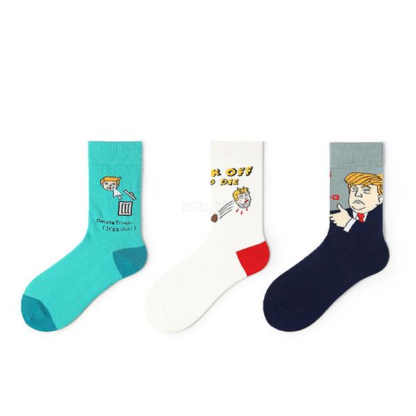 President Trump 2020 Mid stockings Unisex Funny cartoon print Sports Socks Stockings Hip Hop Sock Streetwear LJJA2640