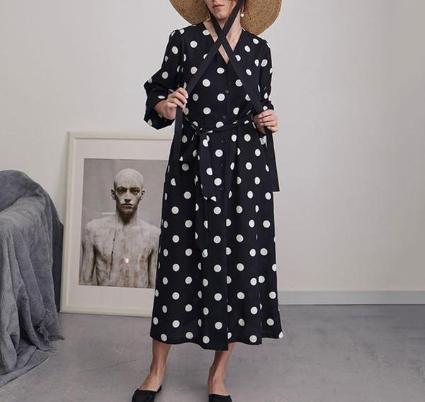 Mousseline De Soie Polka Dot Robe Femmes Col En V Taille Haute Bandages Demi Manches Longues Robes Femme 2019 Mode Printemps