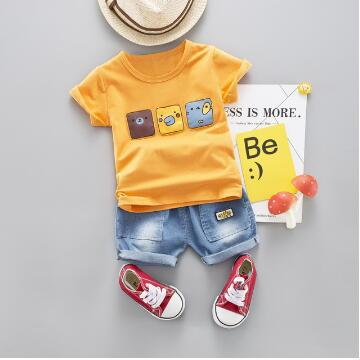 Cotton Baby Boy Cartoon Summer Clothes Sets Toddler Short Sleeve T-Shirt Denim Jeans Children Clothing Suits Costume For Kids