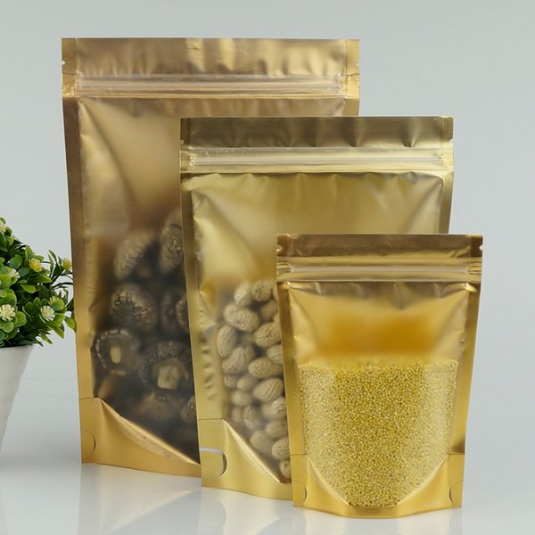 Wholesale Food Pack Bags, 100pcs/lot 12X20CM Stand Up Front Matte Clear Aluminium Foil ZipLock Bag Inner Gold-Reusable Nachos Packing Pouch