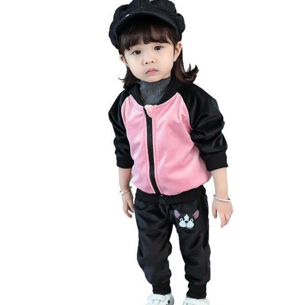 Children Boy Girl Velvet Clothing Outfit Spring Autumn Baby Jacket Pants 2 Piece/sets Cotton Kids Sport Casual Clothes Tracksuit
