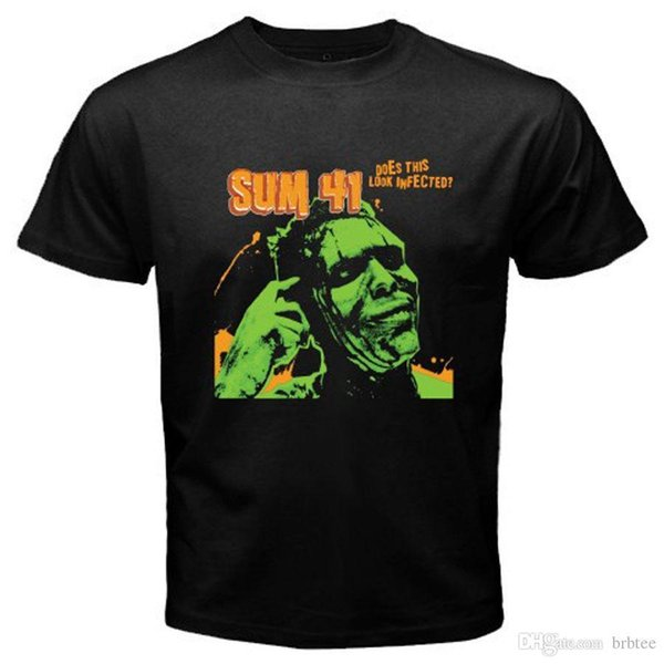 Fashion Funny Tops TeesNew SUM 41 *Infected Punk Rock Band Men's Black T-Shirt Size S M L XL 2XL 3XL