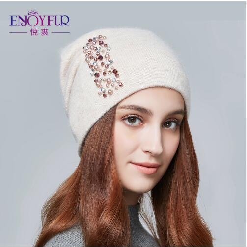 2019 winter hats for women knitted wool warm hats lady fashion Rhinestones beanies skull cap black grey beige blue colors