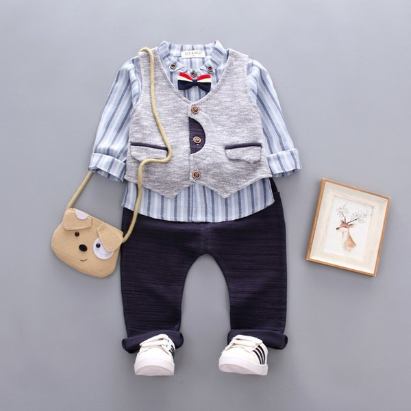 Autumn Winter Children Boys Cartoon Clothes Baby Vest Tie T Shirt Pants 3 Pcs/Sets Kids Leisure Sport Suit Toddler Tracksuitsuit