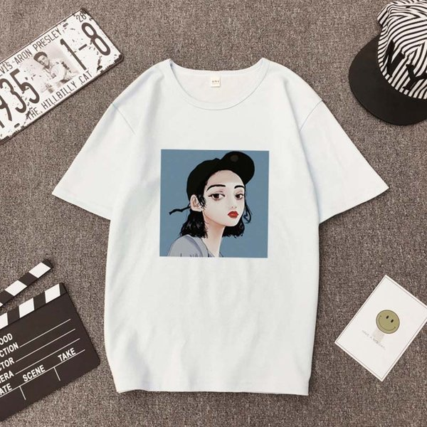 2019 Bianco T Shirt Donna Vintage Allentato Harajuku Stampato Estate Maniche Corte Kroean UnisexPlus Taglie Vintage Tops