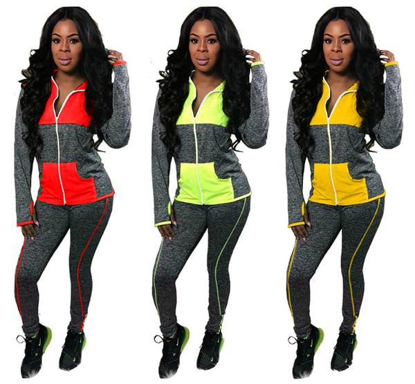 sweat à capuche Survêtement cardigan femmes manches longues tenues de jogging deux femmes sportswear ensemble pièce casual costume sport costume de sport lambrissée klw2463