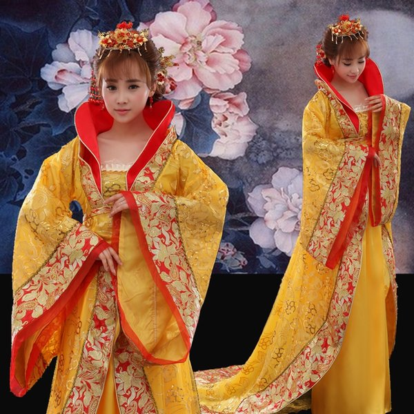 Elegent Trailing royal queen Outfit chinese ancient tang ming dynasty princess costume fairy stage Dress Suzhou embroidery