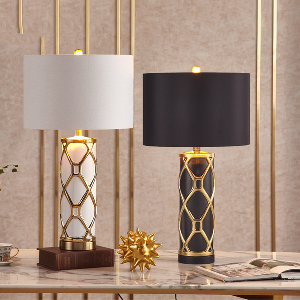 2019 Fashion Crossed Gold Plated Stripes Ceramic Table Lamp Black White  Bedroom Living Room Hotel Table Lights Office Decoration Lamp From Delin,  ...