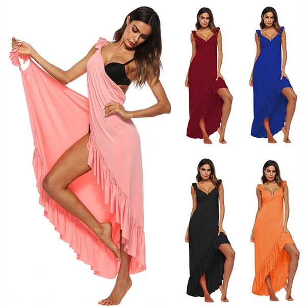 Sexy Beach Tunic Wrap Dress Swimwear Cover Up Solid Backless Sleeveless Long Skirt Summer Women Sarong Plage Pareo De Playa A1 Y19042401