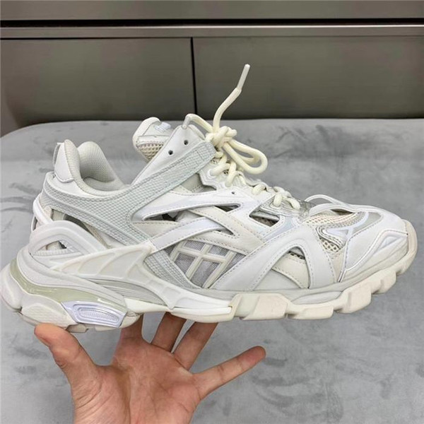 Unisex Track.2 Sneaker with Pure white, Women Mens Designer Sneakers Hiking Boots Complex multi-part combination Leather
