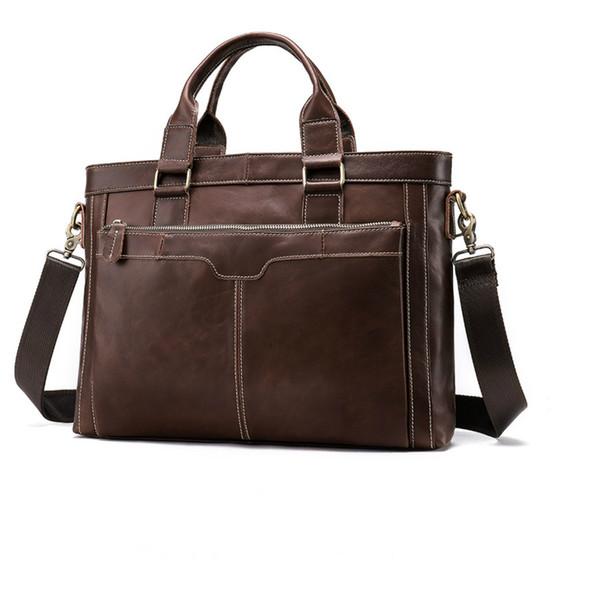 2019 New Vintage Classic Briefcase Men Bags Genuine Leather Men's Business Laptop Handbag For Messenger Satchel Cow Leather Bag